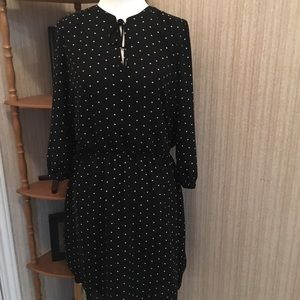 Loft black and white polka dot elasticized dress!